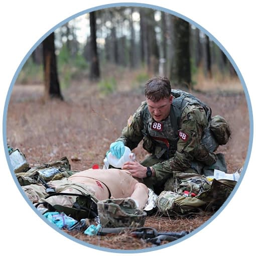 Army Ranger Medic practicing care