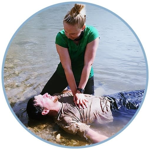 Administering CPR ashore